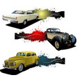 three banners with old car vector image vector image