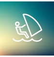 Wind surfing thin line icon vector image vector image