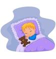 Cartoon baby sleeping with teddy bear vector image