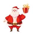 Colorful flat santa holding christmas gift box vector image