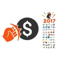 Crime Racket Icon with 2017 Year Bonus Pictograms vector image
