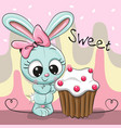 greeting card cute rabbit with cake vector image