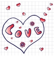 Hand drawn word love vector image
