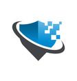 pixel shield security logo icon vector image