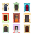 set of isolated outdoor view on doors vector image