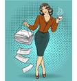 business woman in retro pop vector image
