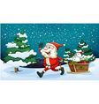 A smiling Santa pulling the wooden sleigh near the vector image
