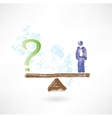 man and question grunge icon vector image vector image