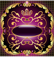 background with pattern and crown of gold vector image vector image