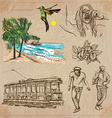 Jamaica Travel - An hand drawn pack vector image