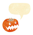 cartoon pumpkin with speech bubble vector image