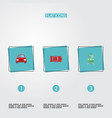 flat icons automobile automotive metro and other vector image