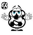 Soccer number eight in cartoon style vector image