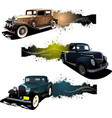 three banners with old car vector image