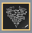 Valentine card on chalkboard vector image