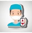 nurse crooss smartphone graphic vector image