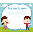 cute children present and white board vector image