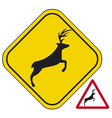 Deer crossing traffic warning sign vector image vector image