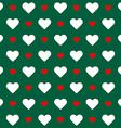 Seamless pattern White and red hearts over green vector image