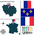 Map of Paris Ile de France vector image vector image