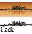 Cadiz skyline in orange vector image