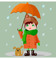 Girl with an umbrella and a puppy vector image