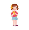 cute cartoon little girl listening music in vector image