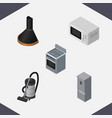 Isometric device set of air extractor microwave vector image