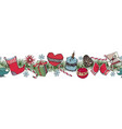set with christmas objects wreath endless brush vector image