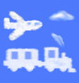 train and plane shaped cloud in the blue sky vector image