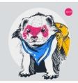 raccoon traveler backpack outline vector image