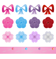set of bows flowers and pins for scrapbook vector image