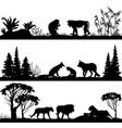wild animals monkeys foxes lions vector image