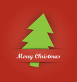 Christmas card paper pocket with green tree vector image