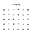Shipping Colored Line Icons vector image vector image