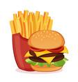hamburger and french fries vector image