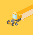 harvester in the field isometric vector image