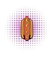 Hotdog icon in comics style vector image