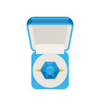 ring with sapphire in box top view jewel isolated vector image