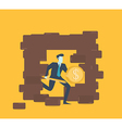 Business knight destroy brick wall vector image