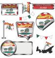 Glossy icons with flag of province prince edward vector image