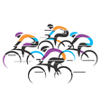 Cyclists racers colorful background vector image