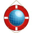 blue globe in red lifesaver vector image vector image