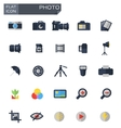 flat photo icons set vector image vector image