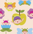 Cute butterfly babies seamless pattern vector image