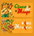 handwritten words viva mexico cinco de mayo vector image