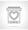 Invitation card with heart flat line icon vector image