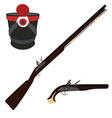 Musket rifle gun and hat vector image