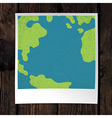 Photo frame with Earth snapshot closeup Earth day vector image