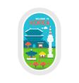 Flat design Korea landmarks vector image
